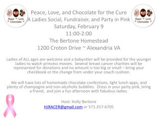 Peace, Love, and Chocolate for the Cure A Ladies Social, Fundraiser, and Party in Pink