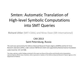 Smten : Automatic Translation of High-level Symbolic Computations into SMT Queries