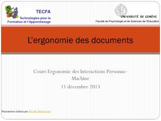 L'ergonomie des documents