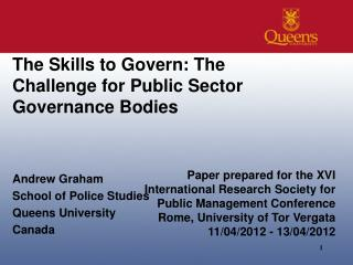 The Skills to Govern: The Challenge for Public Sector Governance Bodies