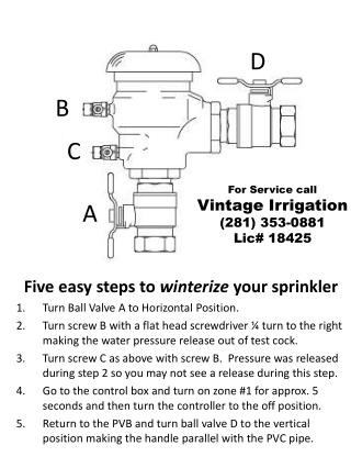 Five easy steps to  winterize  your sprinkler Turn Ball Valve A to Horizontal Position.