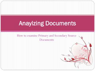 Anaylzing Documents