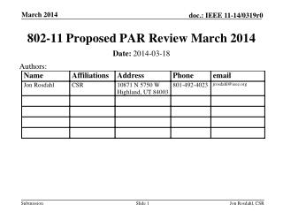 802-11  Proposed PAR  Review March 2014