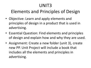 UNIT3 Elements and Principles of Design