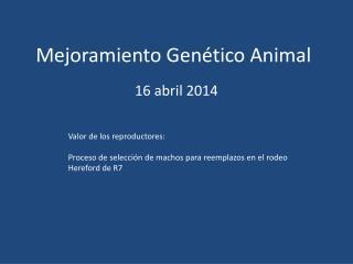Mejoramiento Genético Animal