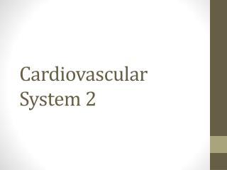 Cardiovascular System 2