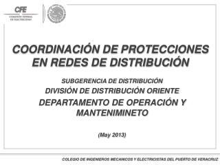 COORDINACIÓN  DE  PROTECCIONES  EN REDES DE DISTRIBUCIÓN