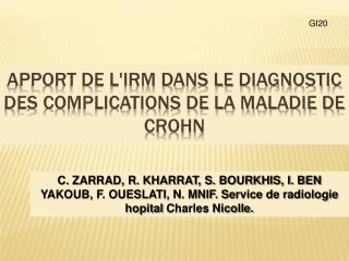 Apport de l'IRM dans le diagnostic des complications de la maladie de crohn