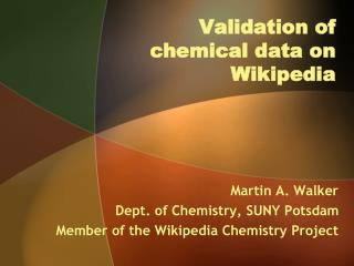 Validation of chemical data on  Wikipedia