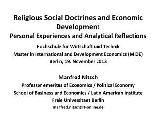 Hochschule für Wirtschaft  und  Technik Master in International and Development Economics (MIDE)