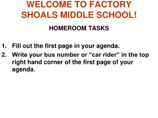 WELCOME TO FACTORY SHOALS MIDDLE SCHOOL!