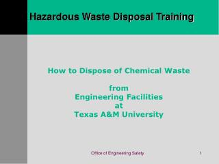 Hazardous Waste Disposal Training