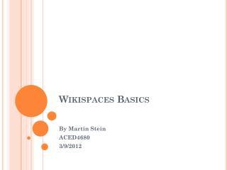 Wikispaces Basics