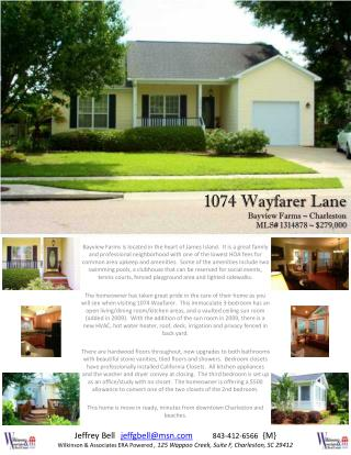 1074 Wayfarer Lane Bayview Farms ~ Charleston MLS#  1314878 ~ $279,000