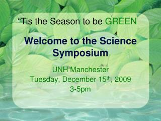 Welcome to the Science Symposium