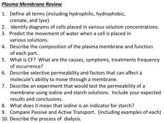 Plasma Membrane Review
