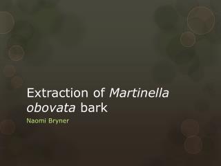 Extraction of  Martinella obovata  bark