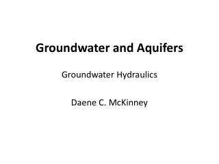 Groundwater and Aquifers