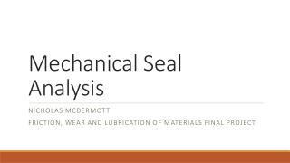 Mechanical Seal Analysis