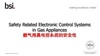 Safety Related Electronic Control  Systems in  Gas  Appliances 燃气用具电控系统的安全性