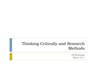 Thinking Critically and Research Methods
