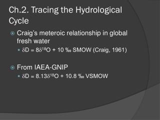 Ch.2. Tracing the Hydrological Cycle