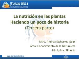 La nutrición en las plantas Haciendo un poco de historia (Tercera parte)