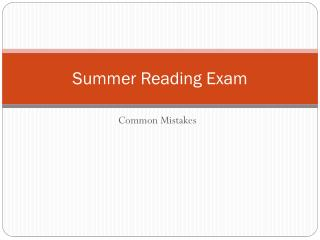Summer Reading Exam