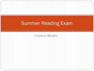 Summer Reading Exam
