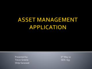 ASSET MANAGEMENT APPLICATION