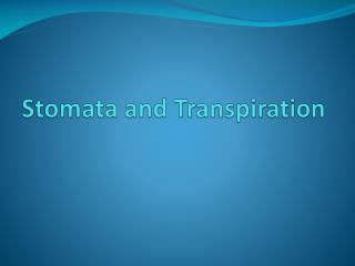 Stomata and Transpiration