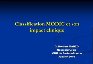 Classification MODIC et son impact clinique