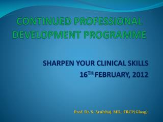 CONTINUED PROFESSIONAL DEVELOPMENT PROGRAMME