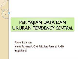 PENYAJIAN DATA DAN UKURAN  TENDENCY CENTRAL