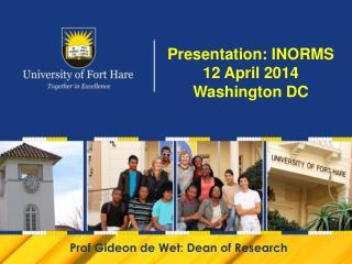 Presentation: INORMS 12 April 2014 Washington DC