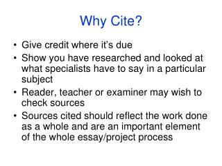 Why Cite?