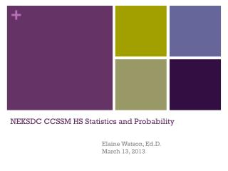 NEKSDC CCSSM HS Statistics and Probability