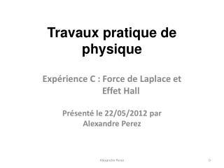 Travaux pratique de physique