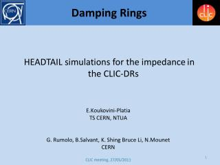 HEADTAIL simulations for the impedance in the CLIC-DRs