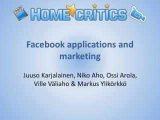 Facebook applications  and  marketing