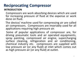 Reciprocating  Compressor Introduction