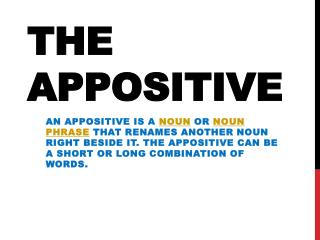The Appositive