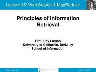 Lecture 15: Web  Search &  MapReduce