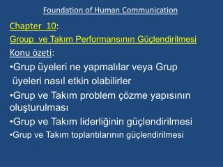 Foundation of  Human Communication