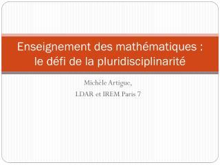 Enseignement des mathématiques : le défi de la pluridisciplinarité