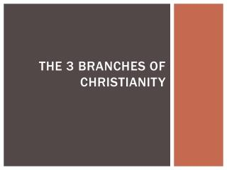 The 3 branches of Christianity