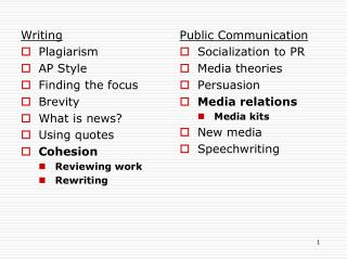 Writing Plagiarism AP Style Finding the focus Brevity What is news? Using quotes Cohesion