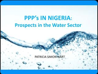 PPP's IN NIGERIA :  Prospects in the Water Sector