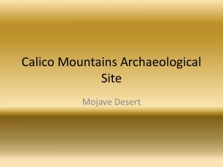 Calico Mountains Archaeological Site