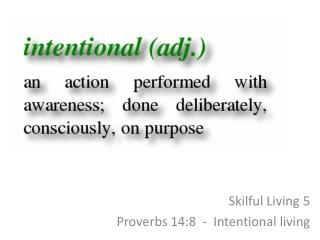 Skilful Living 5 Proverbs 14:8  -  Intentional living